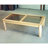 Victorian Ash Coffee Table. Featuring Bevelled Glass Inserts.